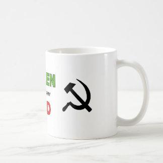Groen is het nieuwe Rood met zwarte symbolen Koffiemok