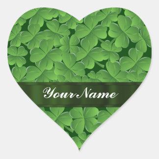 Groen klaverpatroon hart stickers