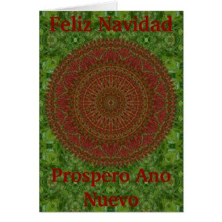 Groen op de Rode Kerstkaart van Chili Mandala Briefkaarten 0