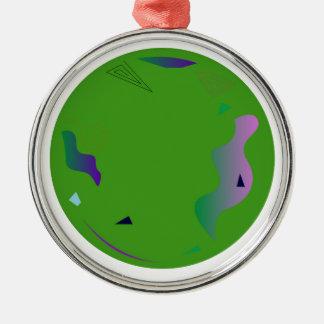 Groen OPAAL. Origineel kunstwerk Zilverkleurig Rond Ornament