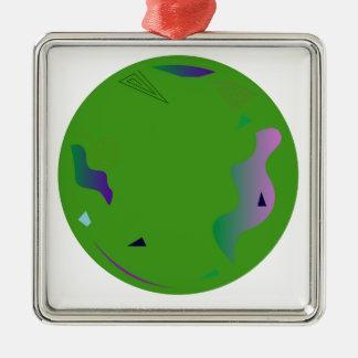 Groen OPAAL. Origineel kunstwerk Zilverkleurig Vierkant Ornament
