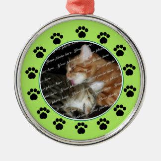 Groen Paws/van het huisdier Zilverkleurig Rond Ornament