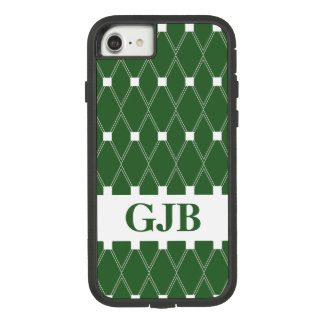 Groen Rooster Argyle met monogram Case-Mate Tough Extreme iPhone 8/7 Hoesje