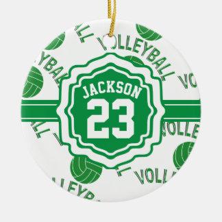 Groen Volleyball Rond Keramisch Ornament