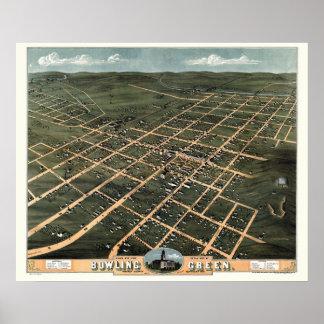 Groen werpen, de Panoramische Kaart van KY - 1871 Poster