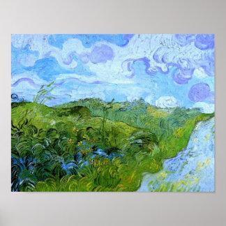 Groen Wheat Fields Van Gogh Fine Art. Poster