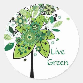 Groene Abstracte Boom Ronde Sticker