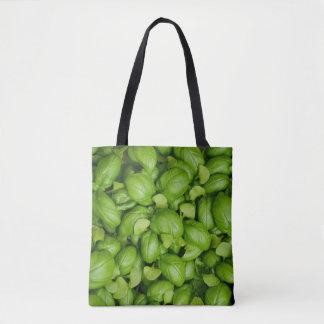 Groene basilicumbladeren draagtas