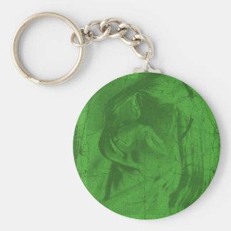 Groene Bezinningen Keychain Basic Ronde Button Sleutelhanger