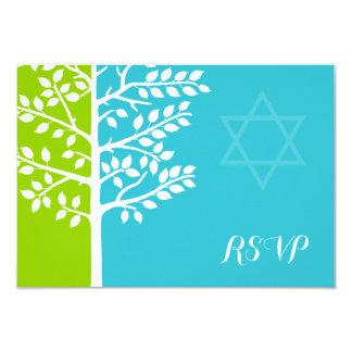 Groene Blauwgroen Blauwe Boom van de Knuppel 8,9x12,7 Uitnodiging Kaart