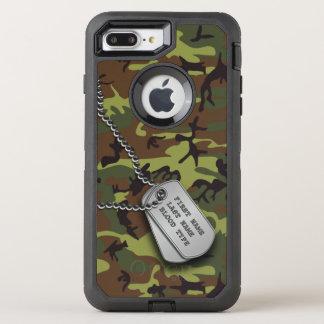 Groene Camo met het Label van de Hond OtterBox Defender iPhone 7 Plus Hoesje