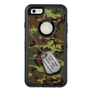 Groene Camo met het Label van de Hond OtterBox Defender iPhone Hoesje