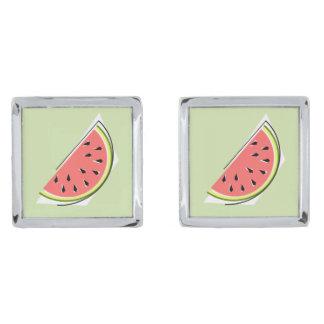 Groene cufflinks van de Plak van de watermeloen Verzilverde Manchetknopen