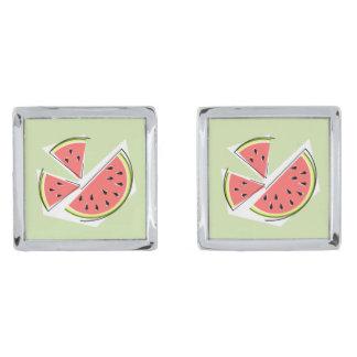 Groene cufflinks van de Stukken van de watermeloen Verzilverde Manchetknopen