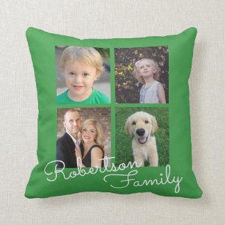 Groene de Collage van de Familie van vier Foto Sierkussen