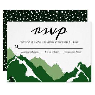 Groene de reactiekaart van het bergenhuwelijk RSVP Kaart