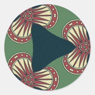 Groene Driehoeken Ronde Sticker