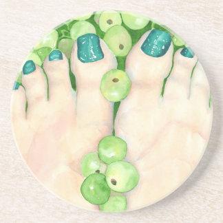Groene Druiven en Pedicure Zandsteen Onderzetter