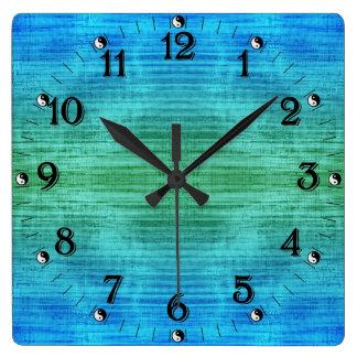 Groene en Blauwe Gradiënt Yin Yang Vierkante Klok