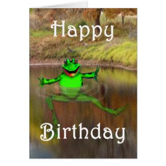 Groene en kikker die, Gelukkige Verjaardag golven Briefkaarten 0