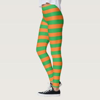 Groene en Oranje Strepen Leggings
