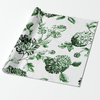 Groene en Witte Vintage Botanische BloemenToile Inpakpapier