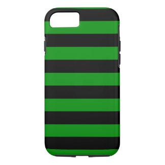 Groene en Zwarte Horizontale Strepen iPhone 7 Hoesje