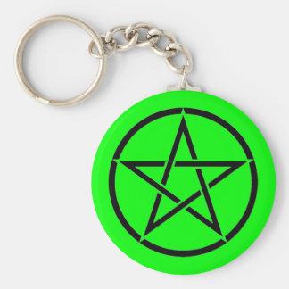 Groene en Zwarte Pentacle Pentagram Wiccan Sleutelhanger