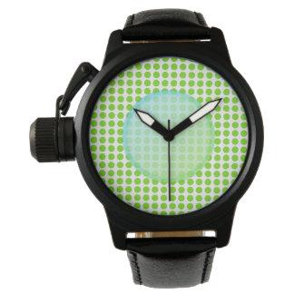 Groene Gekleurde Polkadot. Horloge
