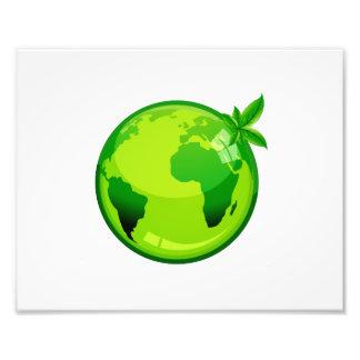 groene gele wereldbol weerspiegelende aarde design foto afdruk