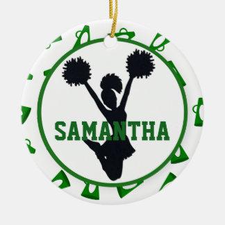 Groene Gepersonaliseerde Megafoons en Cheerleader Rond Keramisch Ornament