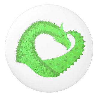 Groene het hartdraak van het limoen op wit keramische knop
