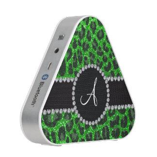 Groene het limoen van het monogram schittert bluetooth speaker