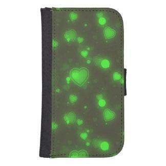 Groene het neon schittert de Harten van de Bel Galaxy S4 Portefeuille Hoesje