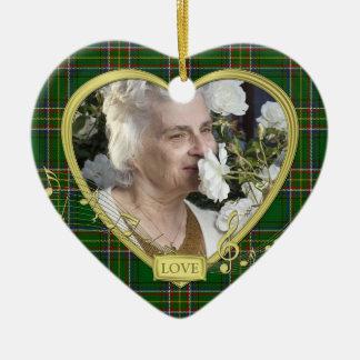 Groene Ierse Kerstmis van de Foto van het Hart van Keramisch Hart Ornament
