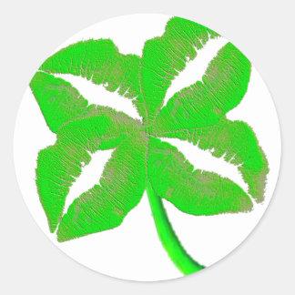 Groene Ierse Lippen Ronde Stickers