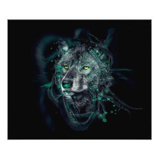 Groene Indische wolf Foto Afdrukken