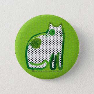 """""""groene kat"""" digitale het schilderen speld ronde button 5,7 cm"""