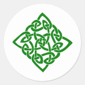 Groene Keltische Knoop Ronde Sticker
