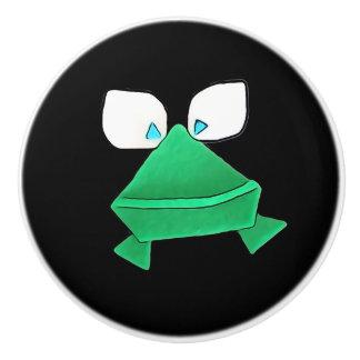 Groene Kikker op Zwarte Ceramische Knop