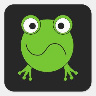 Groene Kikker. Verward het kijken Vierkante Sticker
