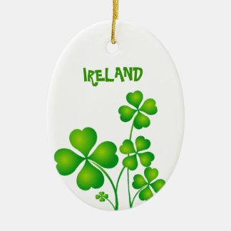 Groene Klaver van Ierland Keramisch Ovaal Ornament