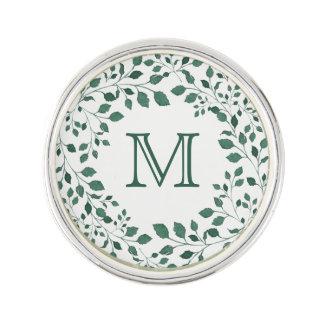 Groene kroon   van de bladerenwaterverf Monogram Reverspeld