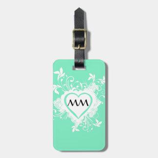Groene munt en hartmonogram kofferlabels