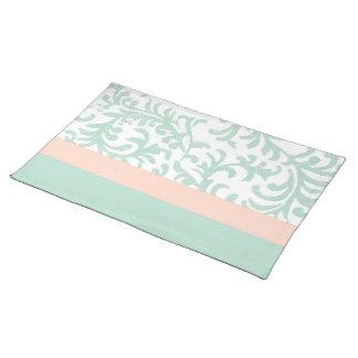 Groene munt en het Roze BloemenPatroon van de Placemat