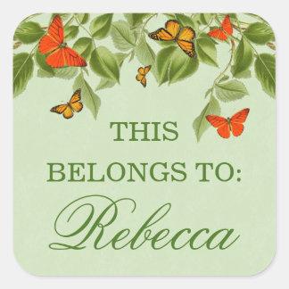 Groene natuur de naamsticker van de vlinder & van vierkante sticker