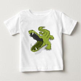 Groene open de krokodil krokodillemond van de baby t shirts