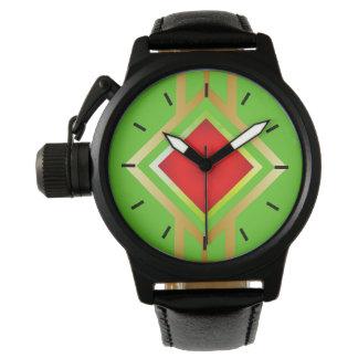 Groene Rode Gouden Diamant Als achtergrond Horloge