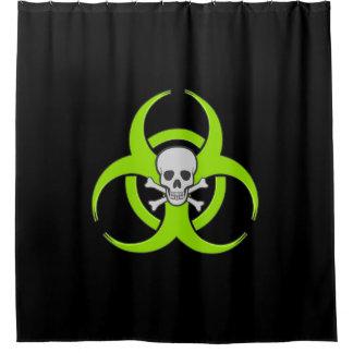 Groene Schedel Biohazard en Gekruiste knekels Douchegordijn