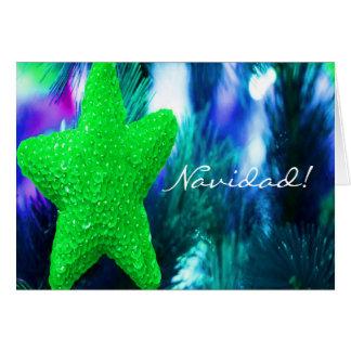 Groene Ster III van Navidad van Kerstmis Kaart